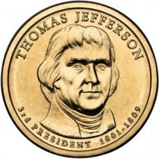 "1 доллар 2007 - 3-й президент ""Томас Джефферсон (Thomas Jefferson)"""