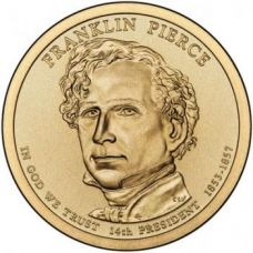 "1 доллар 2010 - 14-й президент ""Франклин Пирс (Franklin Pierce)"""