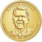 "1 доллар 2016 - 40-й президент ""Рональд Рейган (Ronald Reagan)"""